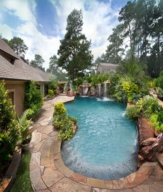 Luxury Swimming Pools With Waterfalls stone swimming pools | swimming pool with natural stone spa and
