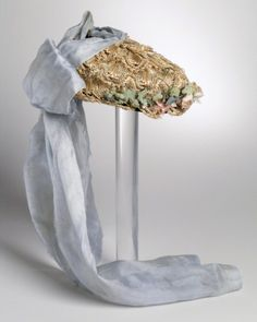 Straw And Silk Bonnet   c.1870's The Los Angeles County Museum of Art