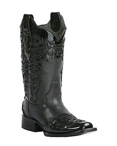 Corral Women's Black with Black Patent Laser Overlay Square Toe Western Boot