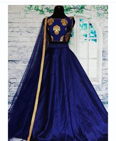 New blue color taffeta silk party wear lehenga choli Indian Gowns, Indian Attire, Indian Ethnic Wear, Indian Outfits, Indian Clothes, Lehenga Choli, Anarkali, Brocade Lehenga, Party Wear Lehenga