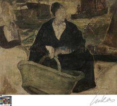 Constant Permeke heeft een groot deel van zijn jeugd in Oostende doorgebracht, waar hij gefascineerd raakte door de vissers. Hun wereld vertolkte hij op een persoonlijke manier op het doek. In dit werk wordt dit benadrukt door de vormvervaging, de donkere grauwe kleuren en de indruk niet voltooid te zijn. De vissersvrouw hurkt met gespreide benen, en houdt een veel te grote vissersmand in de hand.