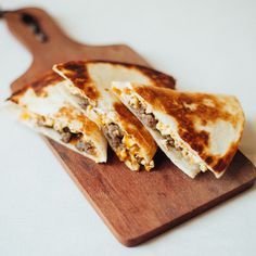 7 Ways to Elevate a Quesadilla | The classic breakfast sandwich goes South of the border with these sausage, egg and cheese quesadillas.