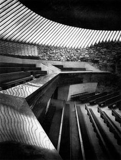 "elarafritzenwalden: "" Temppeliaukio Church (Temppeliaukion kirkko) Helsinki, Finland; 1969 Timo and Tuomo Suomalainen (photography by Richard Einzig, Brecht-Einzig Limited) ""see map view from the..."