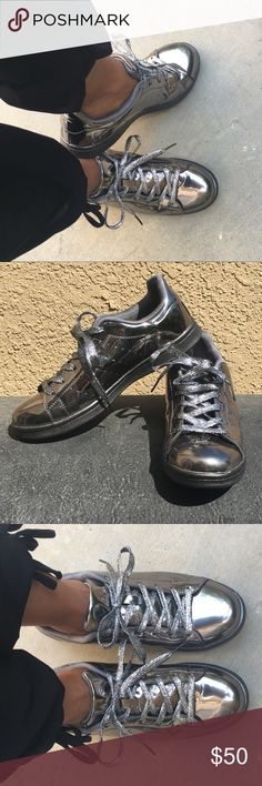 ❤️ Gorgeous shiny gun metal sneakers Gorgeous shiny gunmetal sneakers size 40. Worn once comfortable in EUC. really comfortable they were just too big. Pet free smoke free home Qupid Shoes Sneakers