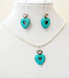 Mother's Day Gift Jewelry Blue Turquoise Heart  by BijiBijoux,