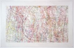 INGRID CALAME  #258 Drawing (Tracings from the Indianapolis Motor Speedway and the L.A. River ), 2007  color pencil on trace mylar  87 1/2 X 135 1/2 inches