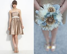 Metallic weddings are a huge trend for 2013. This bronze bridesmaid dress is stunning, and the metallic bouquet elements really pull the whole thing together!
