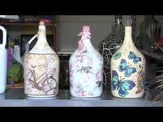 Wine Bottle Crafts, Bottle Art, Altered Bottles, Bottles And Jars, Decoupage, Stencils, Make It Yourself, Rose, Home Decor