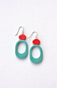 Teal red funky earrings retro colorful jewelry dangle polymer clay earrings on Etsy, $28.29