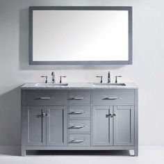 Gallery For Photographers Virtu USA Caroline Traditional Double Sink Bathroom Vanity in Grey Square Sink MD