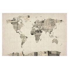 Michael Tompsett 'Vintage Postcards World Map' Canvas Art