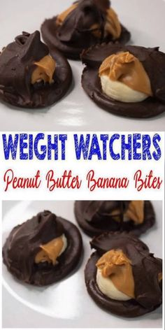 3 ingredient Weight Watchers Chocolate Peanut Butter Banana Bites that everyone will love! These are the BEST Weight Watchers chocolate treat with a super easy recipe. If you love chocolate and peanut Weight Watchers Desserts, Ww Desserts, Chocolate Desserts, Dessert Recipes, Healthy Chocolate, Weight Watchers Puddings, Dessert Healthy, Chocolate Pudding, Healthy Food