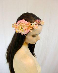 Bridal Flower Crown, Blush Pink Headpiece, Floral Hair Wreath, Bridal Hairpiece, Cherry Blossom Flower Wreath, Pink Wedding Crown