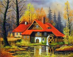 Giulio Rosati - A Game of Backgammo Lily Painting, River Painting, House Painting, Landscape Art, Landscape Paintings, Fall Facebook Cover, Cottage Art, Thomas Kinkade, Forest House