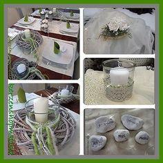 Tischdeko, Deko Kommunion, Hochzeit, Taufe, Windlicht, Tischgesteck, Platzkarten