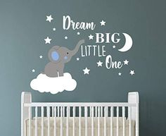 Dream Big Little One Elephant Wall Decal, Quote Wall Stickers, Baby Room Wall Decor, Vinyl Wall Decals for Children Baby Kids Boy Girl Bedroom Nursery Decor Y42 - Blue,white(boy)