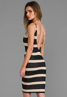 WOODLEIGH Elle Dress in Black/Camel Stripe