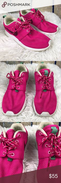 Nike Roshe Run Raspberry Red Pink Teal Accent 6.5 Nike Roshe Runs in excellent pre-owned condition. Only worn 3 times. A bright pink color with a darker pinkish purple swoosh and teal accents. In soles also in excellent condition. Nike Shoes Sneakers