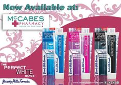 Our Perfect White range 100 ml whitening toothpastes are now available from McCabes Pharmacy :)  #beverlyhillsformula #perfectwhiterange #mccabespharmacy #whiteningtoothpaste www.beverlyhillsformula.com Mouthwash, Oral Health, Pharmacy, Whitening, Beverly Hills, Health And Beauty, Facial, Range, Skin Care
