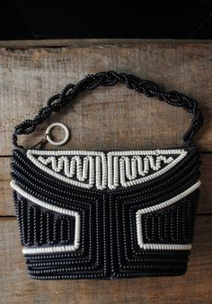 1940s Black and White Telephone Cord Purse by LunaMarket on Etsy, $78.00