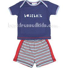 A game of baseball anyone? This tee and short set by Cloud-Mine is very hip with lots of contrasting colors and stripes. The tee has a cool screen-print, lap shoulders, a rib knit collar and sleeve cuffs, and topstitched seams. The shorts have an elastic waistline, racing stripes down both sides, and stylish topstitched seams. Look for other hip designs by Cloud-Mine in the