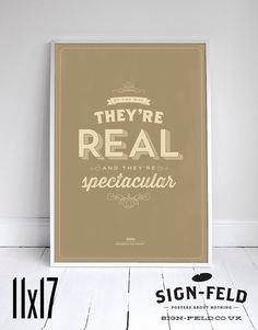 "They're Real and They're Spectacular - Seinfeld Print - Signfeld Poster - 11x17"" - Home Decor #Seinfeld #Signfeld"