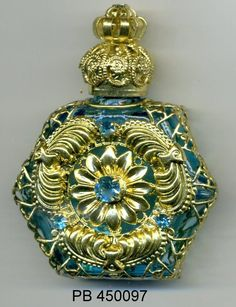 Perfume Vial, essential oil bottle, Perfume Bottle -  turquoise bottle with gold filigree and blue stones PB 450097 by…