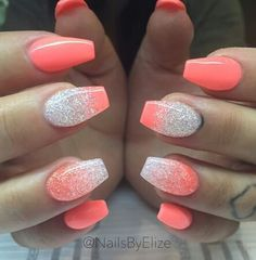 170 beautiful spring nail art designs page 17 homeinspirationss Crome Nails, Pink Acrylic Nails, Coral Ombre Nails, Coral Nail Art, Coral Nails With Design, Glitter Nails, Nails Design, Cute Acrylic Nail Designs, Coral Nail Designs