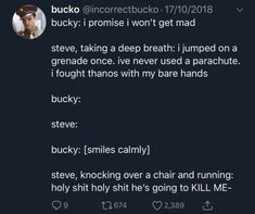 ♡Marvel♡ - Knocking over chair 😂 - Funny Marvel Memes, Marvel Jokes, Dc Memes, Avengers Memes, Marvel Dc Comics, Marvel Heroes, Marvel Avengers, Avengers Fanfic, Bucky And Steve
