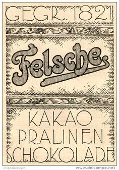 Original-Werbung/ Anzeige 1924 - FELSCHE PRALINEN /KAKAO / SCHOKOLADE  - ca. 100 x 125 mm