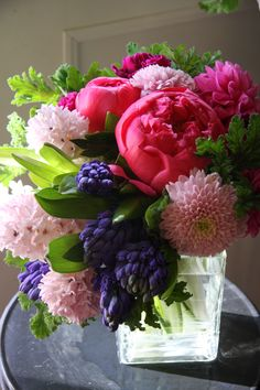 peony,dahlia,mum and hyacinth - straight bunch
