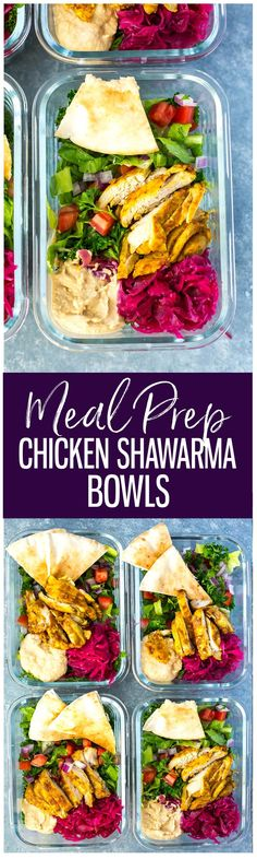 These Chicken Shawarma Meal Prep Bowls are delicious as lunches for the work week, and the shawarma marinade is just like your favourite takeout joint! Pair with parsley, hummus and pickled turnips for extra kick!