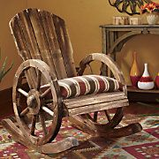 Add comfort and style to your home with our Wagon Wheel Rocker and Chair Cushion. Western Style, Western Decor, Country Decor, Rustic Decor, Country Charm, Pallet Furniture, Rustic Furniture, Furniture Design, Objet Deco Design