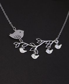 LOVE!!! Personalized Mother's Day Jewelry. Silver Bird Family Tree Necklace,Baby bird Jewelry,Mother Necklace. Family Initials,Mothers,Grandma Gift. $40.50, via Etsy.