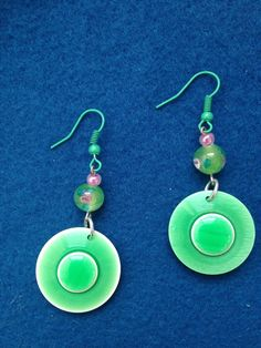Springtime Green Button Earrings with Pink Accent, Unique Green and Pink Button Earrings Perfect for Spring, Dangle Earring Made from Button by CatterflyStudios on Etsy