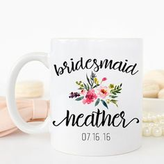 This personalized bridesmaid mug with a floral design makes the perfect gift for a bachelorette party, engagement party or as a bridesmaid proposal. The high quality, ceramic mug can be easily customized. | Holiday Checklist: 12 Bridesmaid Gifts Cozy Enough For Your Winter Wedding