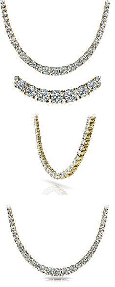 Diamond 164331: 6.5 Carat Round Diamond Graduated Tennis Necklace 14K Yellow Gold F-G Vs/Si1 16 BUY IT NOW ONLY: $6250.0