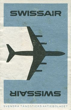 label of matchbox from SwissAir (1962) (Shailesh Chavda's photostream @ flickr.com)