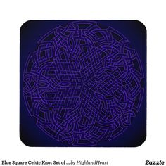 Blue Square Celtic Knot Set of 6 Coasters