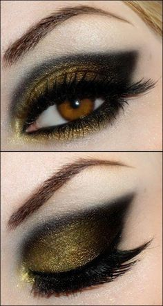 .Try this look in Merle Norman eyeshadow in Golddigger and Black Frost.