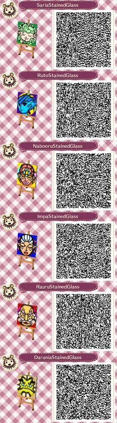 Stained Glass Zelda Sages: Animal Crossing New Leaf QR Codes. (Saria goes with the Nature pattern, Ruto goes with Sharp, Nabooru goes with Modern/Original, Impa goes with Winter, Rauru goes with Flower, and Darunia goes with Simple.)