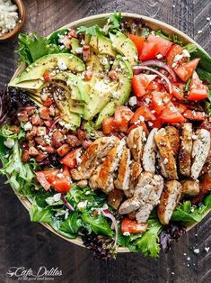 BLT Balsamic Chicken Avocado & Feta Salad… Heaven in a bowl? blt balsamic chicken avocado & feta salad is a delicious twist to a blt in salad form, with a balsamic dressing that… Diet Recipes, Chicken Recipes, Cooking Recipes, Healthy Recipes, Easy Cooking, Cooking Food, Greek Recipes, Salad Recipes For Dinner, Dinner Salads