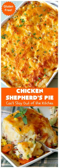 Chicken Shepherd's Pie – Can't Stay Out of the Kitchen Chicken Shepherd's Pie, How To Cook Chicken, Baked Chicken, Seasoned Green Beans, Sauteed Carrots, Cheesy Mashed Potatoes, Potato Toppings, Turkey Recipes, Chicken Recipes