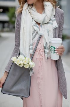 Romantic look 2014 – pink dress, grey cardigan and bag