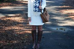 Outfit | Winter Houndstooth & Heringbone Sweater Dress