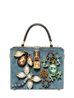 DOLCE  amp  GABBANA - SMALL VELVET EMBELLISHED DOLCE BAG - LUISAVIAROMA -  LUXURY SHOPPING WORLDWIDE fe34b3236b741