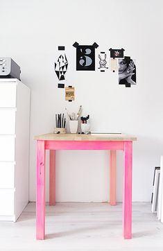 neon pink stained table legs - love this idea!