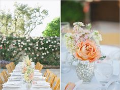 Simple table arrangements allow the natural beauty of an outdoor wedding reception to shine.
