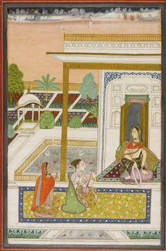 An illustration to a Ragamala series: a ragini of Hindol Raga, Deccan, Hyderabad, circa 1750-70 gouache heightened with gold on paper, margins ruled in silver, red outer margins decorated with gold scrolling flowers