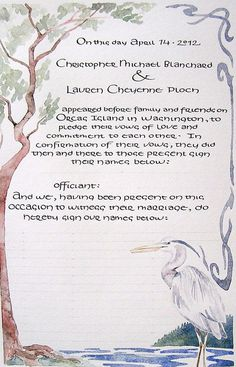 Wedding Guestbook Marriage Certificate Custom Calligraphy And